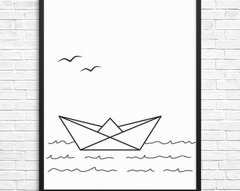 Paper boat art print. Nautical nursery wall art printable. Paper ship black and white art. Kids bedroom decor. Teen room Scandinavian poster