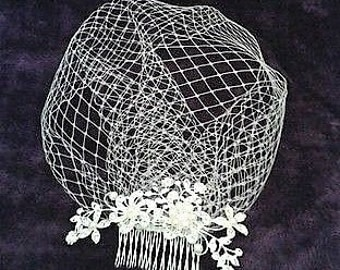 """Bridal Birdcage wedding veil. Diamante and pearl slivertone comb attached to 9"""" French net veiling. FREE UK POSTAGE"""