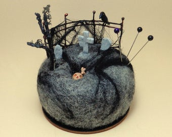 Gothic Cemetery Miniature Scene-Diorama home decoration-Needle felted wool-Original Pincushion-Wonderful gift-READY TO SHIP