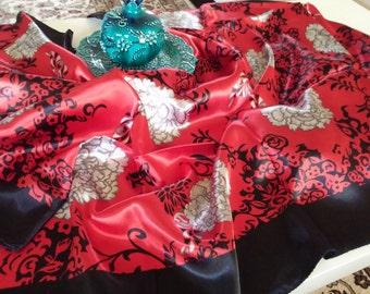 Satin like Silk scarves, Floral design, 90cm x 90cm