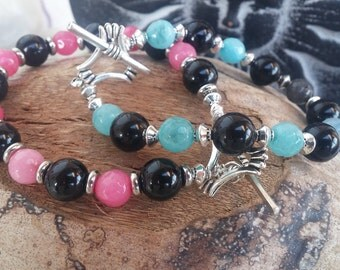 Colored stone and steel bracelet
