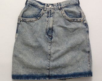 Vintage acid wash denim skirt