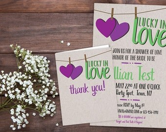 PRINTED Lucky in Love Bridal Shower Invitation and Thank you Card Set Customizable