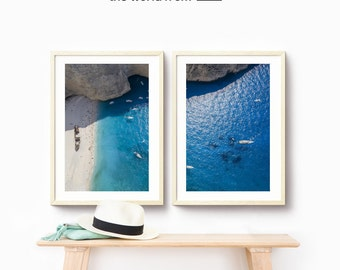 Framed 2-Piece Set, Greece Beach Aerial Beach Photography, Large Wall Art Decor, Fine Art Photography, Aqua Blue Art Prints
