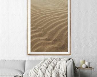 Sand Dunes Print, Landscape Aerial Photography, Abstract Large Wall Art Decor, Colour Fine Art Photography, Art Prints, Beige Neutral