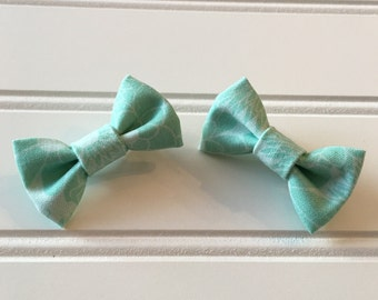 Pigtail bow set/ mini pigtail bow set/ handmade bows/ pigtail bows/ handmade pigtail bow set