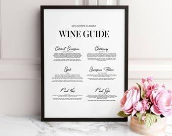 Wine guide, Wine guide print, Wine print, Wine wall art, Kitchen prints, Kitchen wall art, Dining room print, Dining room wall art