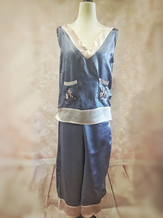 Vintage Inspired Nightgowns, Robes, Pajamas, Baby Dolls The Violet-1920s art deco silk pink blue sleepwear pyjamas. pinup retro vintage wedding bridal gift birthday for her $194.05 AT vintagedancer.com