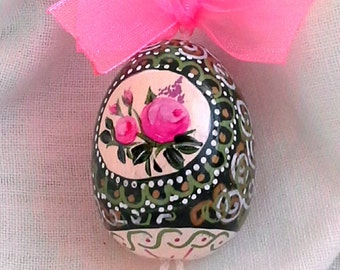 Hand-painted wooden Easter egg-hanging-collectible-with wire and Bell