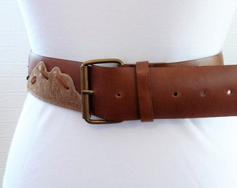 Tan Wide Leather Belt with Animal Print and Grey Pattern 38 inches 1980s