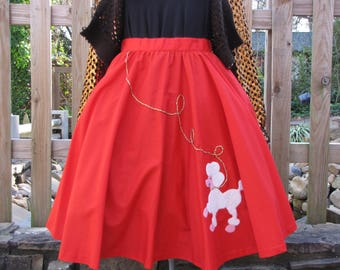 Handmade Red 50's Poodle Skirt