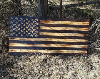 Christmas Gift, Wooden American Flag, Handcrafted, Handcarved, Wall Art, Fired Flag, Man Cave Flag, Rustic American Flag