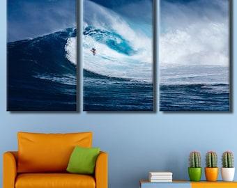 Landscape, ocean, ocean waves, big waves, surfing, deep blue Sea, sea art painting, landscape blue sea, big waves canvas, wave decor
