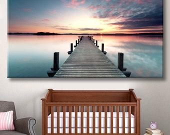 Pier, Marina canvas, Pier print, Sea pier, Sunset print, Sunset wall art, Pier decor, Wooden pier, Wooden dock, Old pier, Oceanside pier