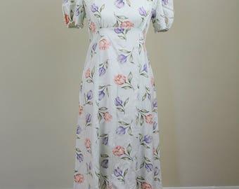 Sea Foam Floral Empire Waist Midi Dress // Vintage 1990s // Size 4 Size 6 Size 8 // ** 25% off **