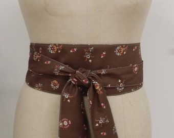 """Belt """"OBI"""" Brown flowers - mother's day limited series"""