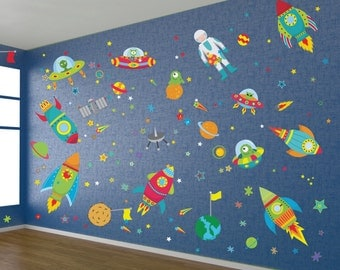 Outer Space Wall Decal / Alien Wall Decals / Alien Space Ship Wall Decals / Astronaut Reusable Wall Decals / Kids Wall Decals - DGWD10001