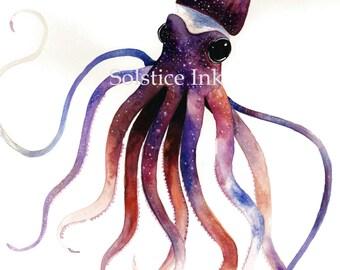 Galaxy Squid Print