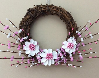Summer wreaths, spring wreaths, mini wreaths, pink wreaths, 8 inch wreaths, holiday wreaths, grapevine wreaths, daisy wreaths, small wreaths