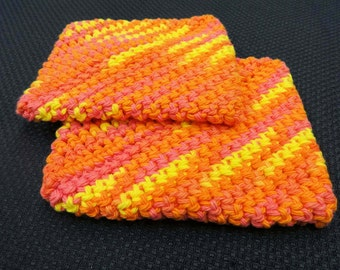 Pair of Crocheted Potholders, 100% Cotton, double thick, Pink, Orange, Yellow
