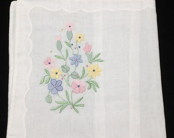 Vintage, Floral Pastel, Boudoir Pillow Cases, New Old Stock, Hand Embroidered with Shadow Stitching, in Madeira