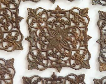Ornate French Brass Stamping(1pc)Vintage Brass Stamping/Victorian Stamping/Wrapping Stamping/French Stamping/French Findings/french filigree