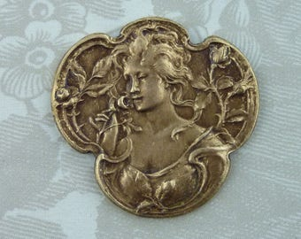 Beautiful French Vintage Rose Maiden Stamping(1 pc)French Art Nouveau Goddess Brass Stamping/Goddess Stamping/Vintage Goddess Pendant