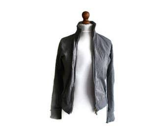 Vintage Gray Jacket, Zipped sweater, Gray sweater, Sports sweater, Lounge sweater, Size S/M