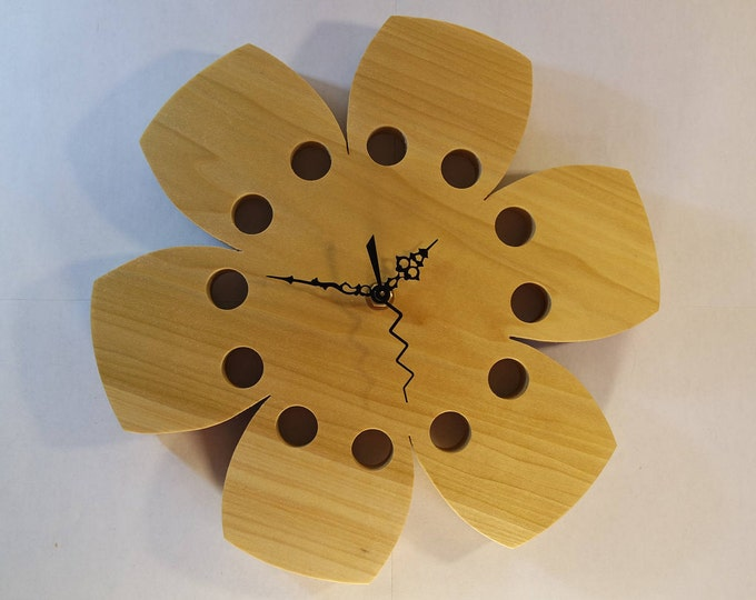 """Featured listing image: Wall Clock Natural Poplar Wood 10"""" Hibiscus Flower Functional Art Eclectic Gift"""