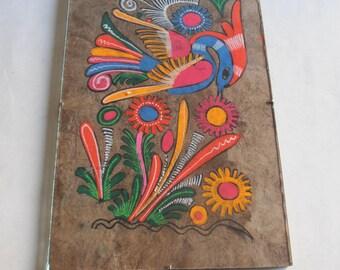 vintage original painting, folk art, bird and flowers