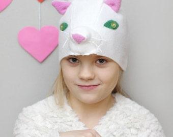 Kids costume, white cat costume hat, animal costume hat, kids dress up hat, toddler pretend play, toddler costume, kids Halloween costume