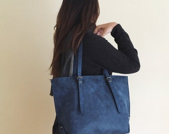 Faux Leather Blue Tote Bag - Vegan Handbag - Water Resistant - Vegan Leather - Rustic Leather - Distressed Leather - Boho Bag - Gift