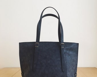 Faux Leather Black Tote Bag - Vegan Handbag - Water Resistant - Vegan Leather - Rustic Leather - Distressed Leather - Boho Bag - Gift