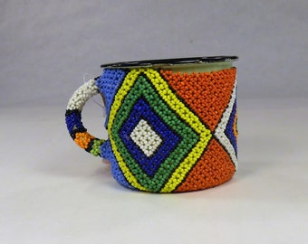 Beaded Tin Gift mug,Decorated metal pen pencil holder,Enamel coffee cup,South African office decor,Collectible Folk Art Figurines,eyediamd