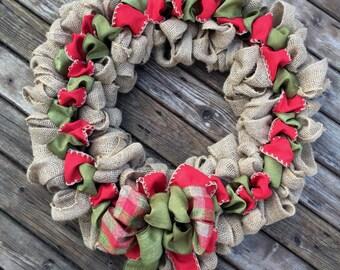 Burlap Christmas Wreath - Ribbon Holiday Wreath