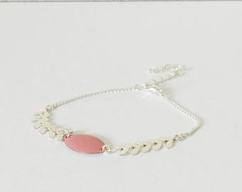 Spike bracelet and shuttle enamel ROSE pale spring