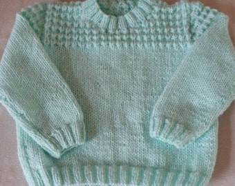 Hand knitted baby boys jumper