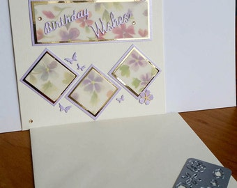 A square cream birthday card, handmade, handcrafted, embellished.
