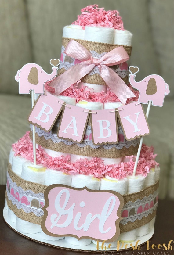 elephant diaper cake pink brown elephant cake baby shower decor 3878