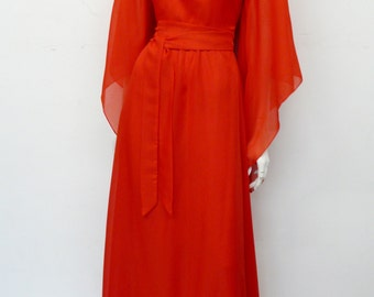 Vintage 70's Red full length chiffon dress with great sleeves // maxi // seventies // Eur 34 / XS
