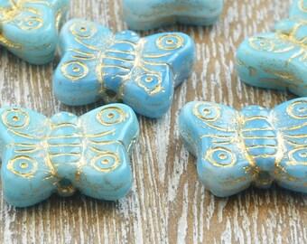 Czech Glass Butterfly Beads Blue Mix, Blue Butterfly Beads, Czech Glass Butterflies, 14mm Butterfly Beads, Uk Czech Beads