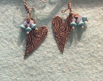Silver heart earrings, Swarovski crystals and silver heart earrings