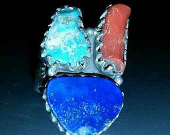 Vintage Sterling Silver Turquoise, Lapis and Coral Ring Sz 7.5