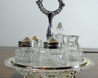 Vintage Mayell Revolving Condiment Server / Holder / Lazy Susan / Silver & Glass / Made in England