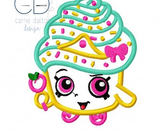 Shopkins Embroidery Design, Shopkins Applique Design, Cupcake Queen