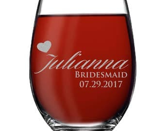 Bridesmaid Gift, Bridesmaid Stemless Wine Glasses, Personalized Wine Glass,  Custom Wine Glasses, Wine Glasses Personalized Stemless Glasses