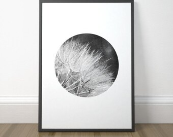 Modern Minimalist Printable, Scandinavian Circle Print, Dandelion Art Print, Minimalist Black and White Art, Instant Download, Digital Print