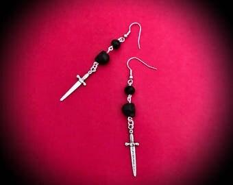 Sword Earrings, Sword Jewelry, Glass Bead Jewelry, Pewter Earrings, Black Earrings, Silver Earrings, Gothic Earrings, Dangle Earrings