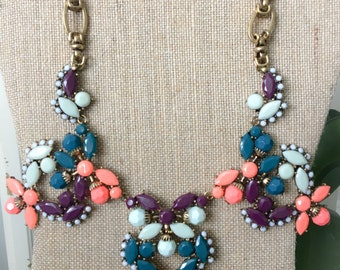 Coral, Mint and Purple Statement Necklace