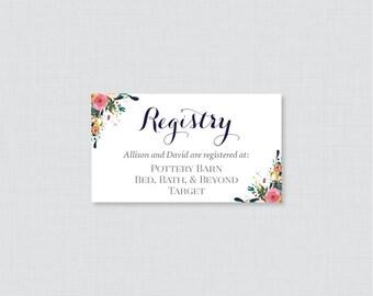 printable or printed wedding registry cards marsala and pink